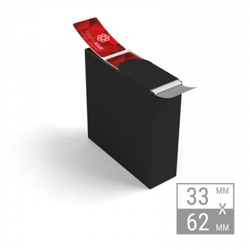 Etiketten auf Rolle | 33x62mm Etiketten in Spenderbox