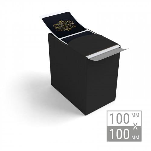Etiketten auf Rolle 100x100mm Etiketten in Spenderbox