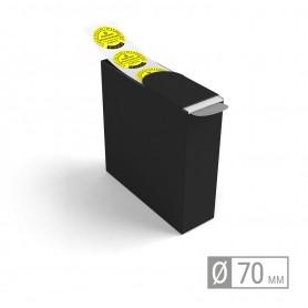 Etiketten auf Rolle | rund 70mm Etiketten in Spenderbox 52,00€