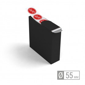Etiketten auf Rolle   rund 55mm Etiketten in Spenderbox