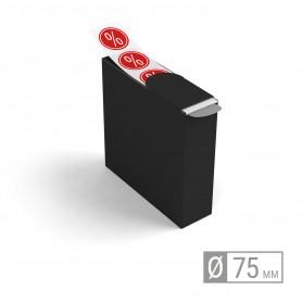 Etiketten auf Rolle   rund 75mm Etiketten in Spenderbox