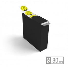 Etiketten auf Rolle   rund 80mm Etiketten in Spenderbox