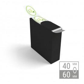 Etiketten auf Rolle | oval 40x60mm Etiketten in Spenderbox 38,00€