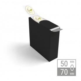 Etiketten auf Rolle   oval 50x70mm Etiketten in Spenderbox
