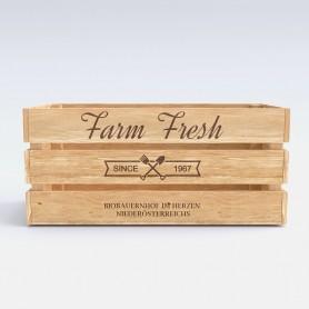 Druck auf Ihre Obststeige Druck auf Holz 0,00€